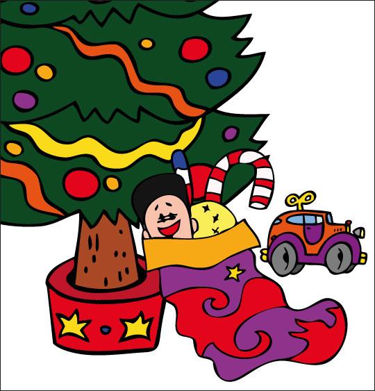 Dessin La Nuit avant Noël, la chaussette de Noël sous le sapin, thème Voiture