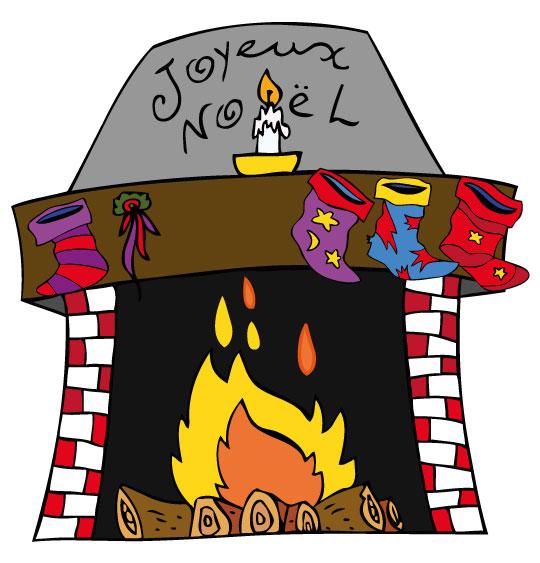 Dessin La Nuit avant Noël, la cheminée est décorée pour Noël, catégorie Conte La Nuit avant Noël