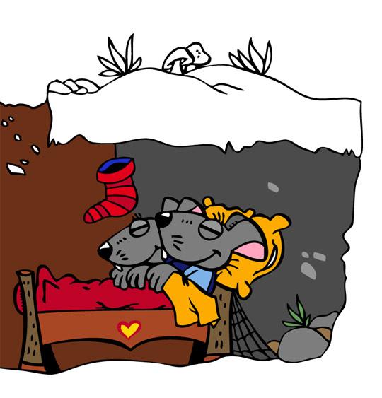 Dessin La Nuit avant Noël, la maison des souris sous la neige, catégorie Conte La Nuit avant Noël