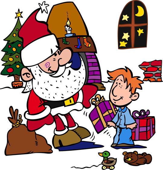 Dessin La Nuit avant Noël, Le pére Noël donne les cadeaux, catégorie Conte La Nuit avant Noël