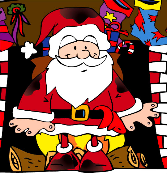 Dessin La Nuit avant Noël, Le père Noël  sort de la cheminée plein de suie, catégorie Conte La Nuit avant Noël