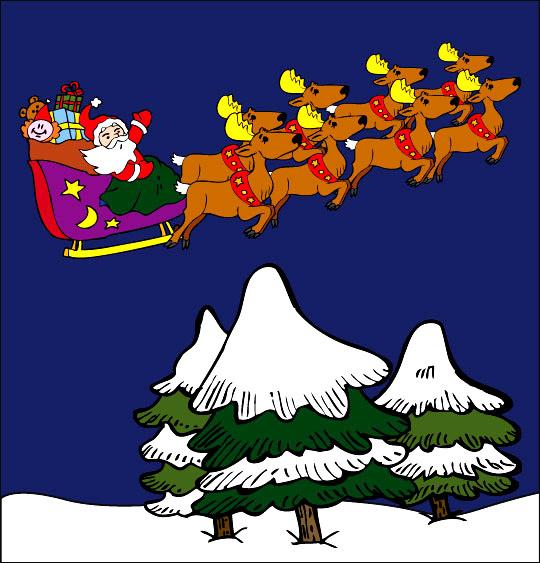 Dessin La Nuit avant Noël, le père Noël vole au dessus des sapins, catégorie Conte La Nuit avant Noël