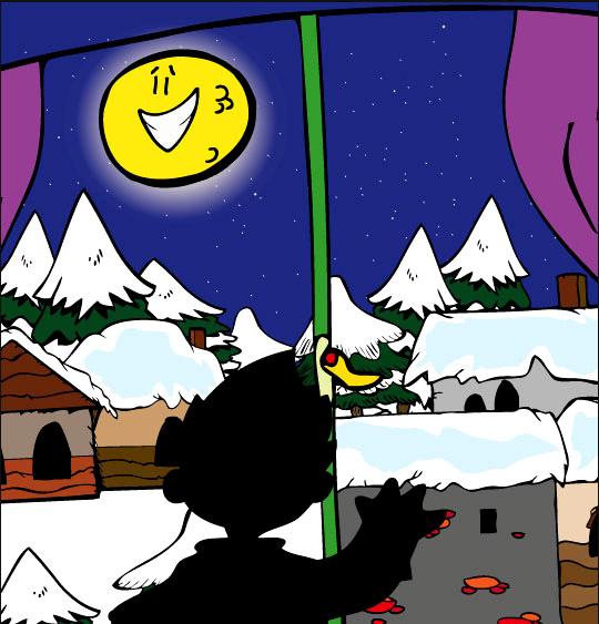 Dessin La Nuit avant Noël, un enfant cherche le père Noël, thème Lune