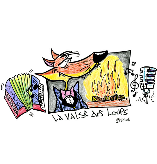 dessin feu dessin conte la valse des loups un loup un accord on un micro et un feu de bois. Black Bedroom Furniture Sets. Home Design Ideas