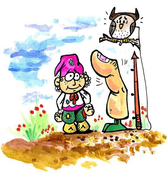 Dessin conte Le petit Poucet, pas plus grand qu'un pouce, thème Doigt