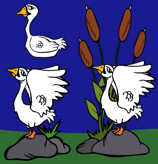 Dessin cygnes dessin conte le vilain petit canard 2 cygnes dans la mare un dessin de la - Coloriage vilain petit canard ...