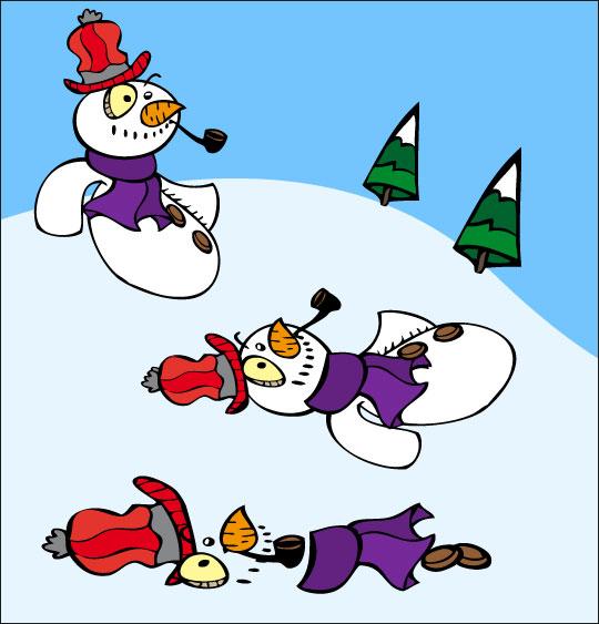 Dessin poésie de Noël, le bonhomme de neige fond sous le soleil, catégorie Poésie de Noël : Le bonhomme de neige
