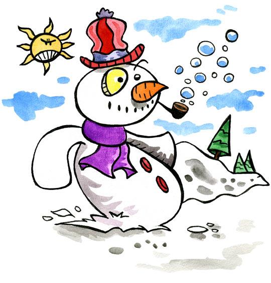 Dessin Le bonhomme de neige, le bonhomme fait des bulles de savon, catégorie Poésie de Noël : Le bonhomme de neige