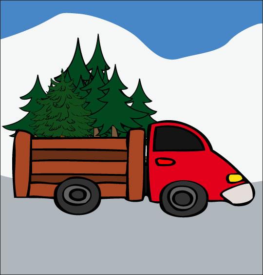 Dessin Le sapin de Noël, le camion qui transporte les sapins, catégorie Poésie de Noël : Le sapin de Noël
