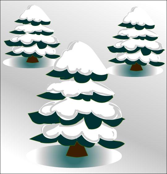 Dessin Le sapin de Noël, les sapins sous la neige, catégorie Poésie de Noël : Le sapin de Noël
