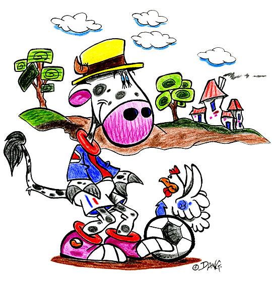 Dessin des vacances d'été à la campagne, la vache joue au foot, thème Maisons