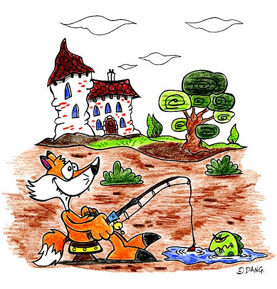 Dessin des vacances d'été à la campagne, le renard pêche, thème Maisons