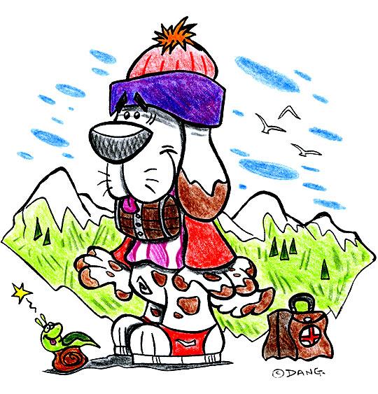 Dessin des vacances d'été à la montagne, le chien Saint Bernard, thème Escargot