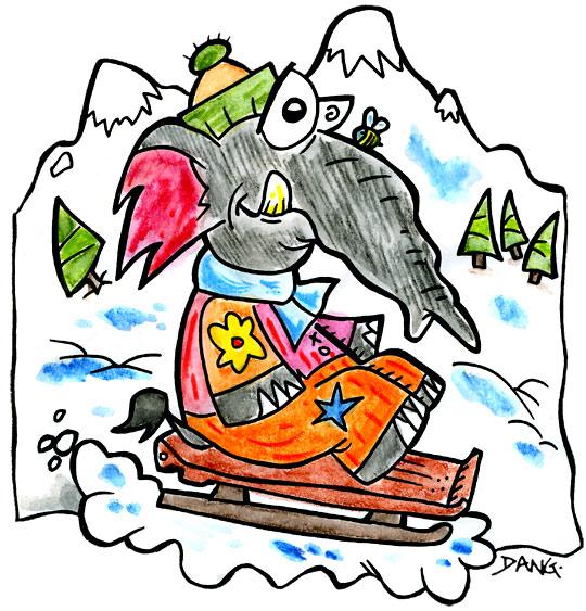 Dessin des vacances de février, un éléphant fait de la luge sur la neige, thème Vacances de février