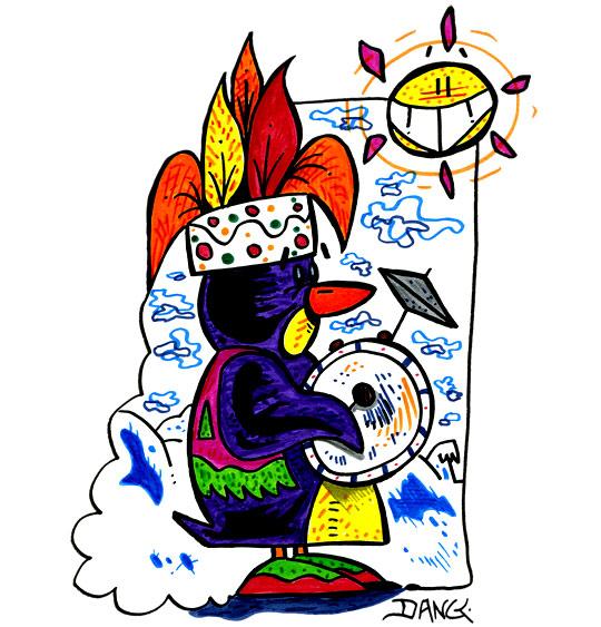 Dessin des vacances de février, un pingouin joue de la caisse claire, thème Pingouin