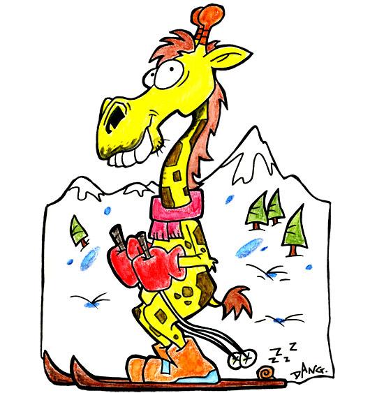 Dessin des vacances de février, une girafe fait du ski à la montagne, thème Vacances de février