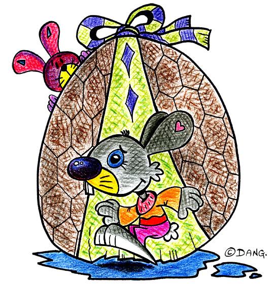 Dessin Vacances de Pâques, deux lapins et un oeuf en chocolat, thème Pâques
