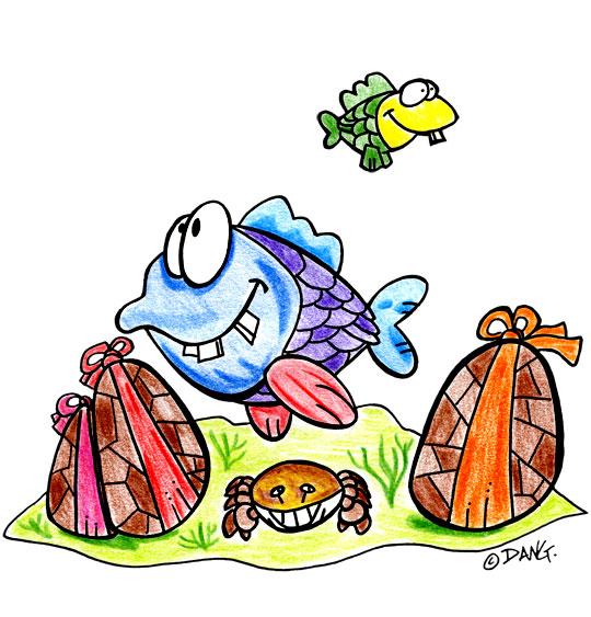 Dessin Vacances de Pâques, les poissons et les oeufs de Pâques, thème Pâques
