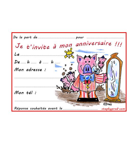 Dessin carte anniversaire pour enfant, bébé cochon est tout beau, illustrateur Dang