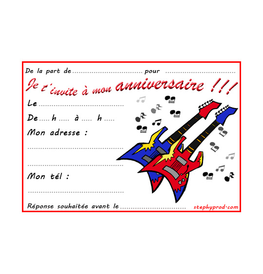 Dessin carte anniversaire pour enfant, deux guitares électriques Gibson, illustrateur Dang