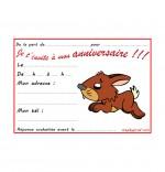 Dessin Carte anniversaire pour enfant, un lapin gambade