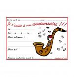 Carte anniversaire pour enfant, un saxophone