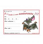 Dessin Carte anniversaire pour enfant, une chauve-souris qui danse