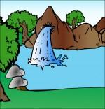Illustration Chanson À la Claire Fontaine, la fontaine dans la forêt