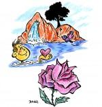 Dessin Chanson À la Claire Fontaine, la rose