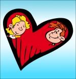 Illustration Chanson À la Claire Fontaine, un coeur et deux amoureux