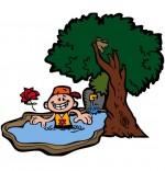 Dessin Chanson À la Claire Fontaine, un petit bain dans la fontaine