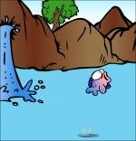 Illustration Chanson À la Claire Fontaine, un poisson dans le lac