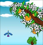 Illustration Chanson À la Volette, l'oiseau vole haut dans le ciel