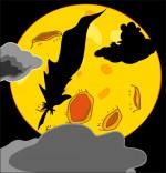 Illustration Chanson Au Clair de la Lune, la lune et la plume