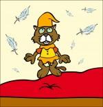Illustration Chanson Au Clair de la Lune, le chat lutin saute sur le lit