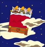 Dessin Chanson Au Clair de la Lune, les lutins dorment dans un grand lit