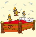 Chanson Au Clair de la Lune, les trois lutins sautent sur le lit