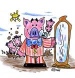Dessin Chanson Bébé cochon, bébé cochon devant la glace