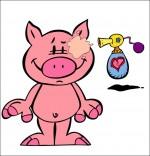 Dessin Chanson Bébé cochon, Bébé cochon se met du parfum