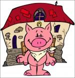 Dessin Chanson Bébé cochon, Bébé cochon une serviette autour du cou