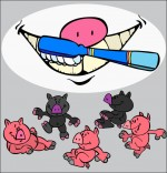 Dessin Chanson Bébé cochon, la brosse à dents