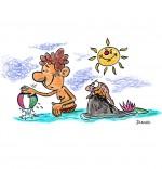 Illustration Chanson Berlingot le crapaud, Un enfant se baigne avec Berlingot