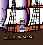 Dessin Chanson Brave Marin, le marin est sur son bateau