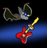 Dessin Chanson Chauve-souris, chauve-souris et la guitare dans le ciel