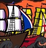 Dessin Chanson de marins Le 31 du mois d'août, un navire français et un navire anglais