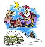 Dessin Chanson de Noël Jingle Bells Le père Noël vole dans le ciel