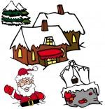 Dessin Chanson de Noël Jingle Bells, Père Noël est enfoncé dans la neige