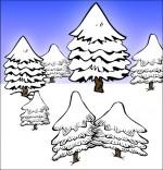 Dessin Chanson de Noël Mon beau sapin, sept sapins dans la neige