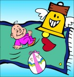 Dessin Chanson Frère Jacques, le bébé Jacques dort sur un tapis volant