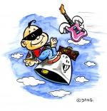 Illustration Chanson Frère Jacques, le bébé rocker sur une cloche